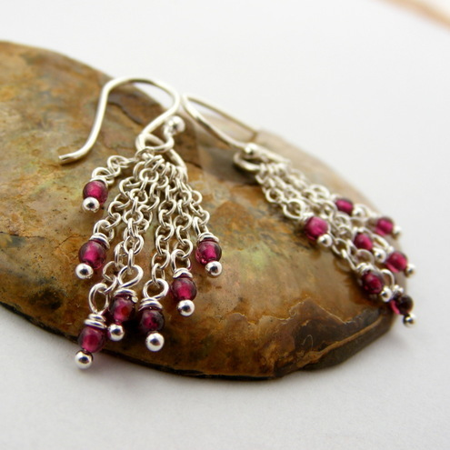 Sterling Silver & Garnet Earrings by Aeris Designs