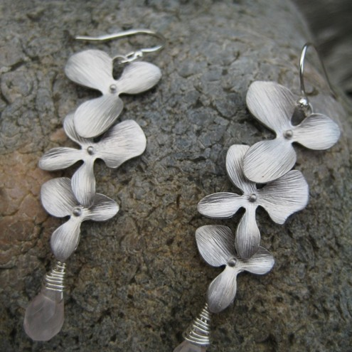 S1997 -Silver Orchid and rose quartz dangly earrings