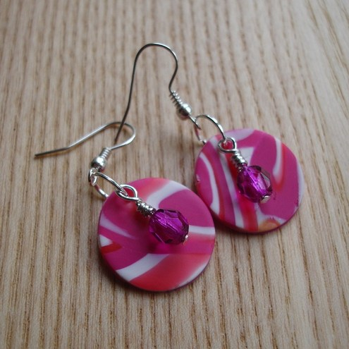 PyroAngel - Pink Swirl FIMO Disco Earrings