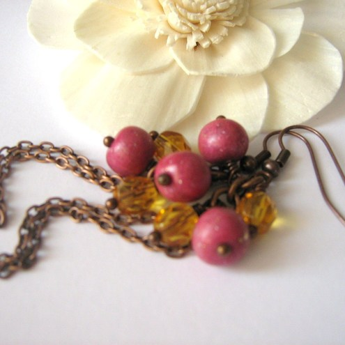 Iyobo Design - Fuchsia -topaz long earrings