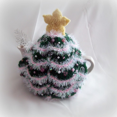 Folksy :: Buy quot;Christmas Tree Tea Cosy with pink glass bead