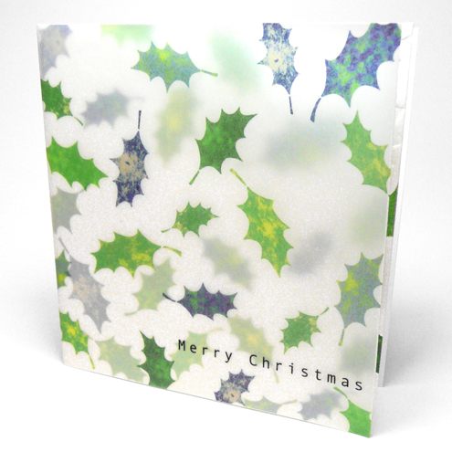 Green Falling Holly Leaves Christmas Cards