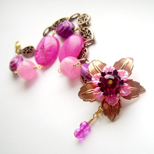 Bracelet copper flower pink beads