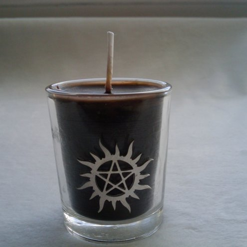 Old School Tattoo Designs tin candle. Supernatural theme votive holder with