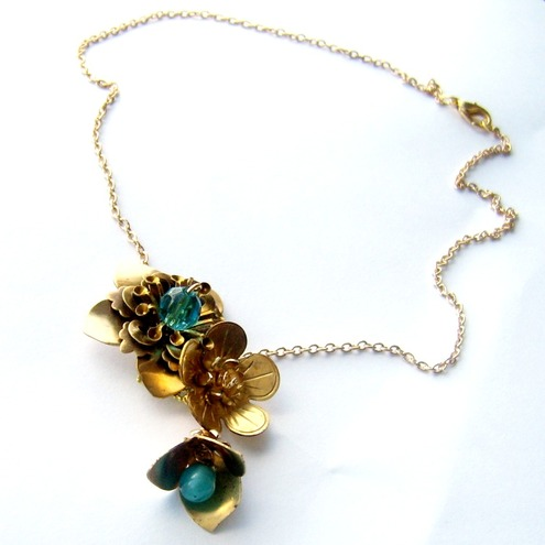 Necklace raw brass flowers and vintage glass drop