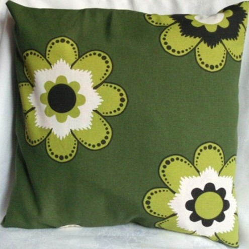 cushion cover retro green flower