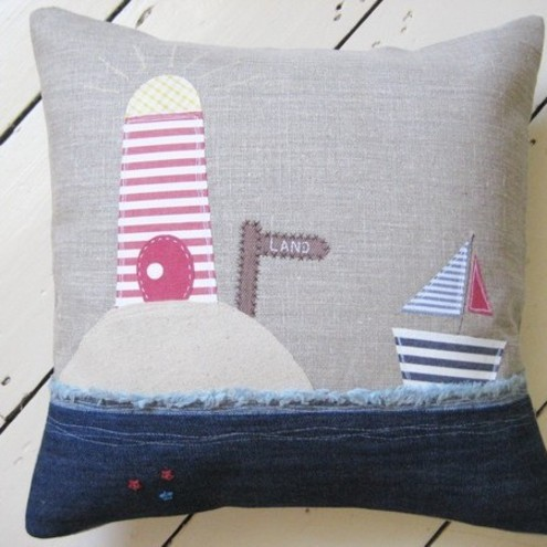 Ticketty Boo - Linen Applique Cushion
