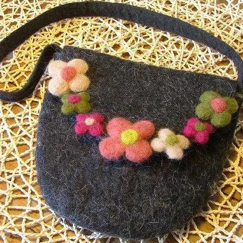 Felted bag with flowers