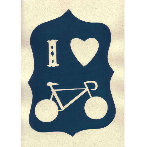 I heart bicycle hand-screenprinted poster - dark teal blue
