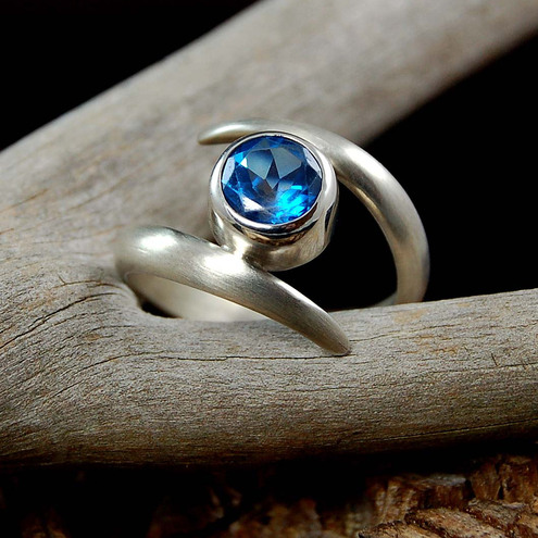 Sterling Silver Satin Finish Ring with London Blue Topaz 8mm gemstone