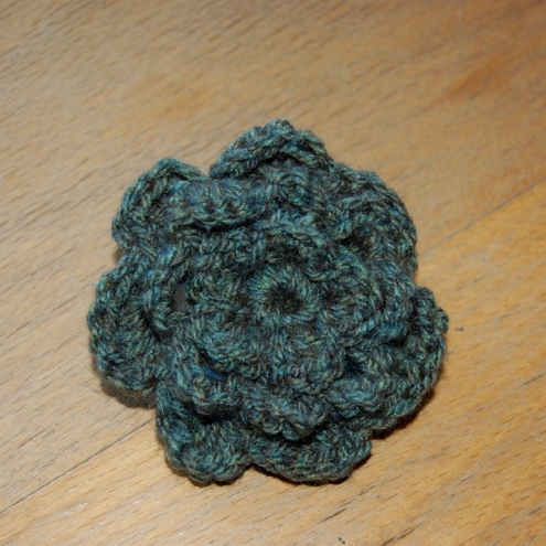 Crochet Flower Brooch_green