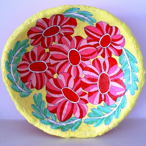 candy flowers papier mache bowl