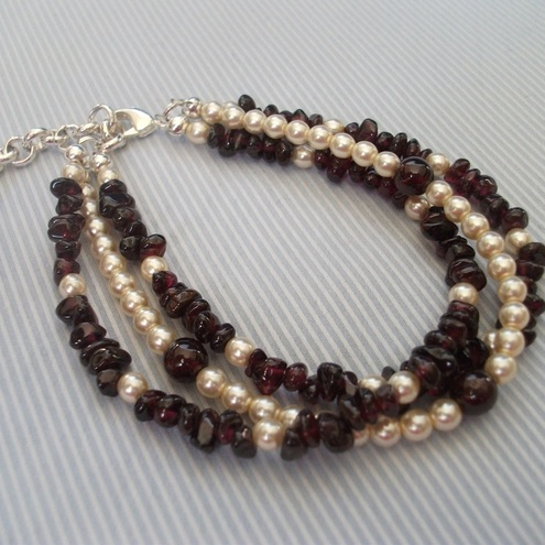 Garnet & pearl three strand bracelet by Goldhawk
