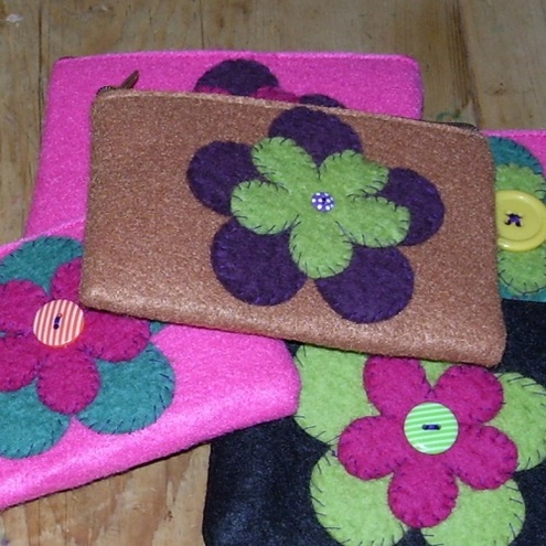 funky felt flower purse