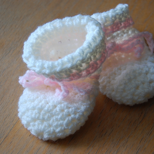 White with Pink Crochet Booties