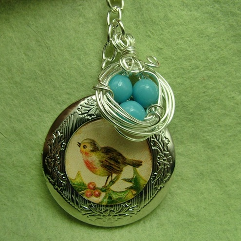 Pretty Robin Locket and Nest charm