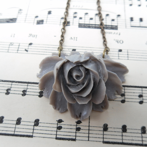 Grey Rose Necklace by Little Red Star