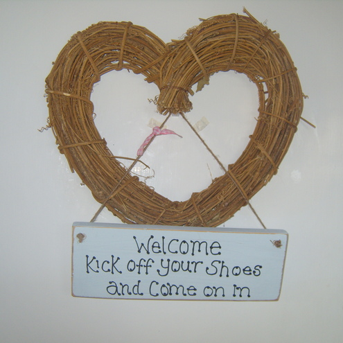 Harvey Crafty Cards - Welcome, kick off your shoes and come on in