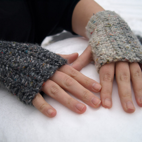 Wooly Mammoth Oddly Matching Crochet Fingerless Gloves