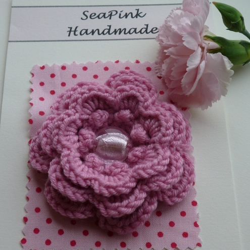 Crochet Flower Corsage by SeaPink