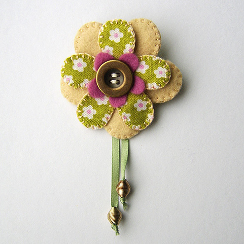 Fabric Flower Brooch by Buttercup Boutique