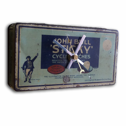 Vintage British John Bull Cycle Tin Wall Clock