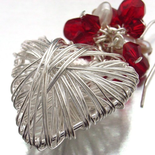 Romantic red heart wire wrapped earrings