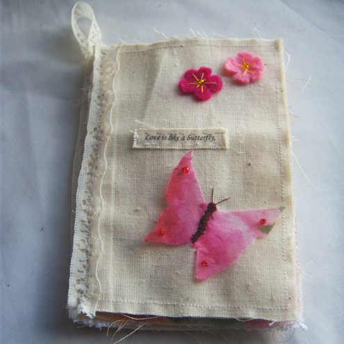 Fabric butterfly book of love