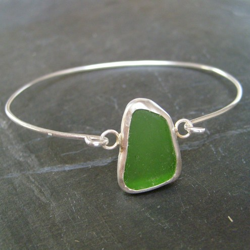 Emerald Green Sea Glass Bangle
