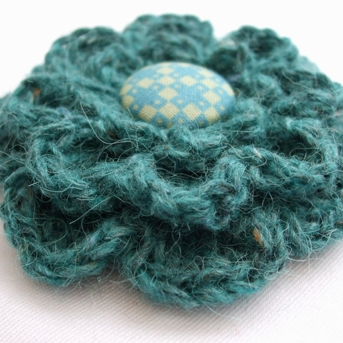 Tweedy Sea Green Crochet Corsage by Very Berry
