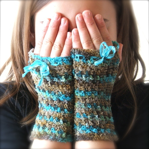 Crochet Wrist - warmers With A Bow