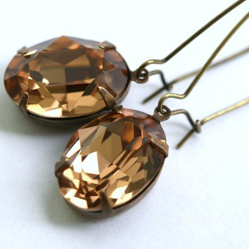 Light Smoked Topaz Crystal Brass Earrings by Z. M. Designs