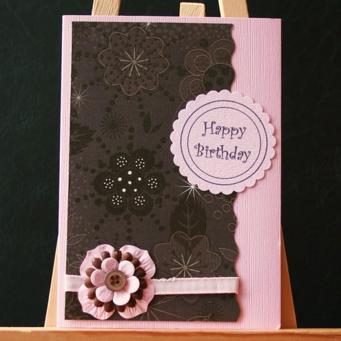 Folksy Buy Pink And Brown Birthday Card